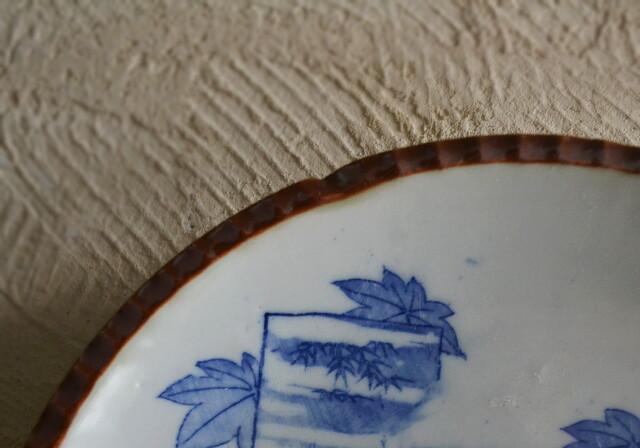 染付印判 イゲ皿 三枚組 直径220mm ヤマトク製