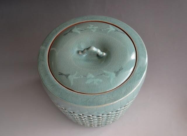 青磁皆具 茶道具 透かし 東月窯