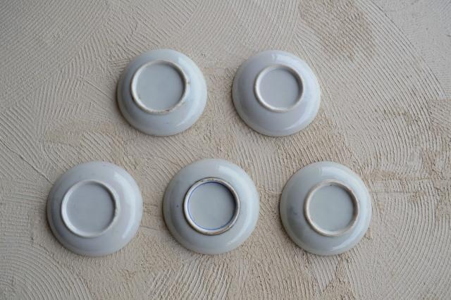 染付印判小皿柄違い5枚組 手塩皿