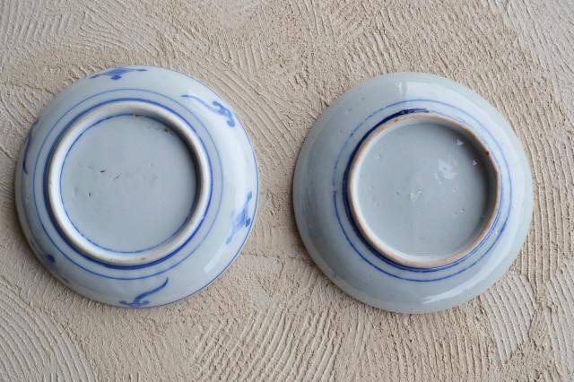 染付け印判皿柄違いニ枚組セット15.7cm 中皿