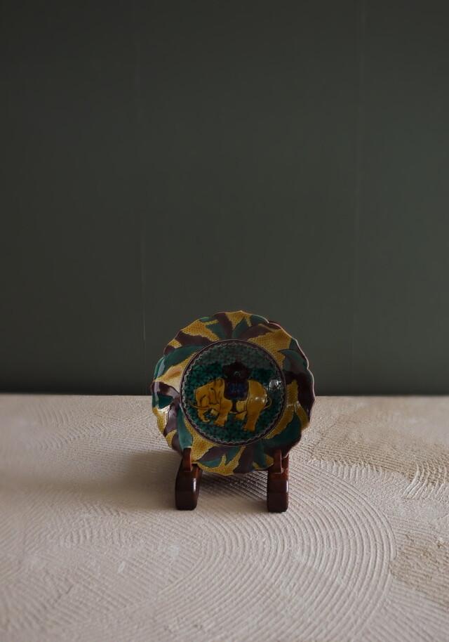 九谷焼池島 直人作吉田屋意象図小皿 一枚