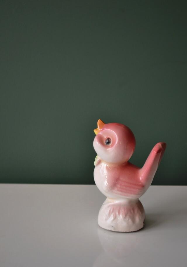 昭和レトロ ピンクの鳥のフィギュリン