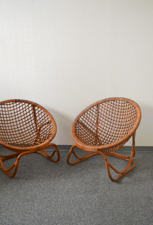 ラタンチェアー 籐の椅子 昭和レトロ 素敵な椅子 フランスラタン
