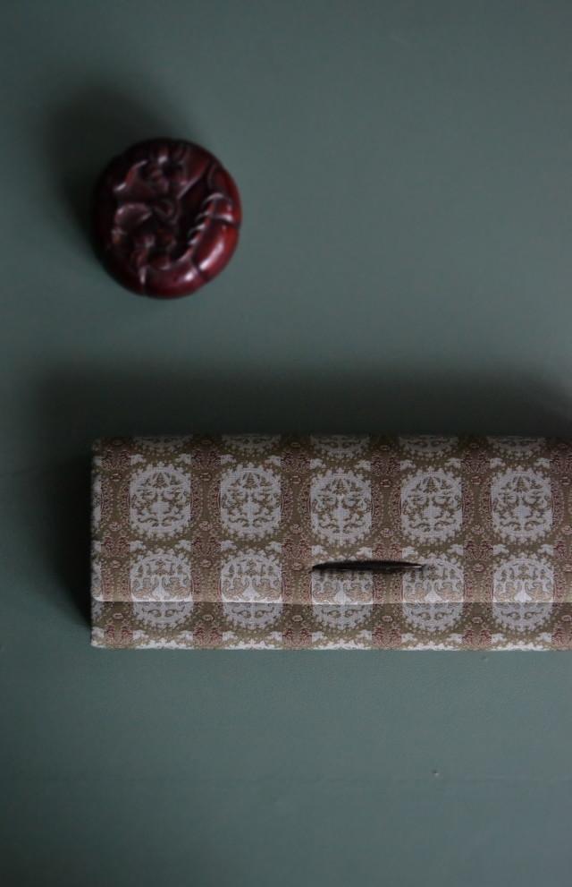 和装バッグ 円紋白虎朱雀錦 着物バッグ クラッチバッグ