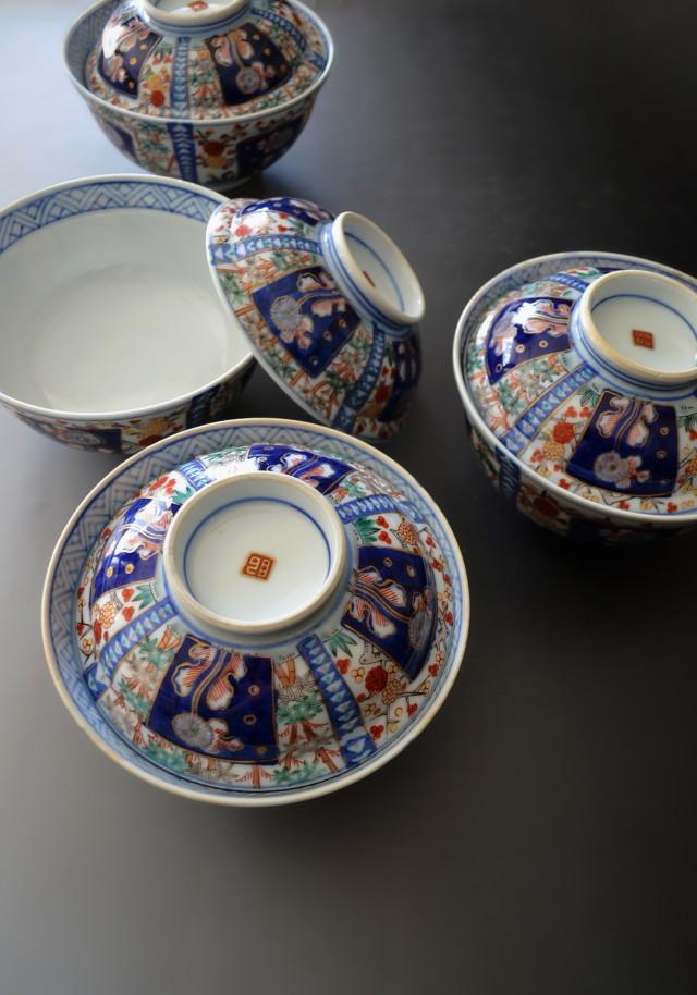 色絵蓋付丼茶碗 四客セット