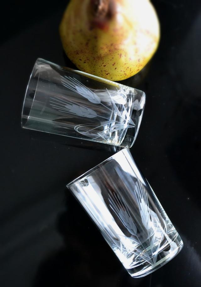 切子ガラスコップ 麦文様 2客セット 昭和レトロ
