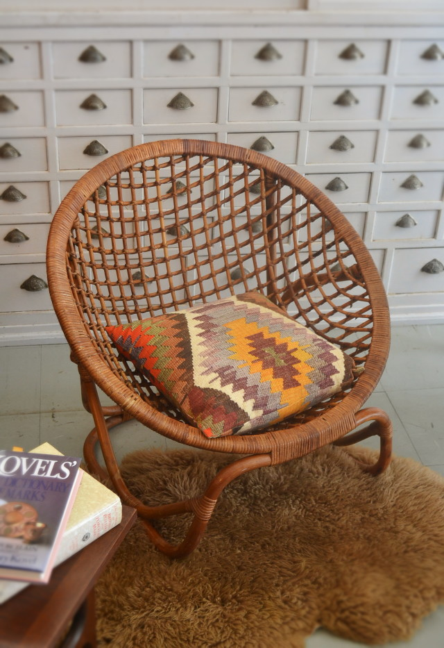 ラタンチェア 籐の椅子 バンブーチェア 2脚セット ラウンドチェア