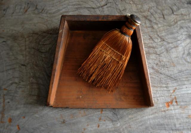 小さな木製ちりとり ほうきセット 古道具