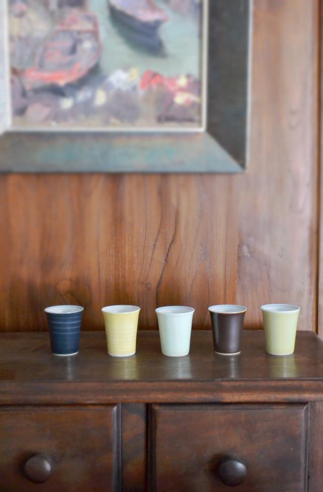 昭和レトロ お猪口 ぐい;み 御煎茶碗 5色1組