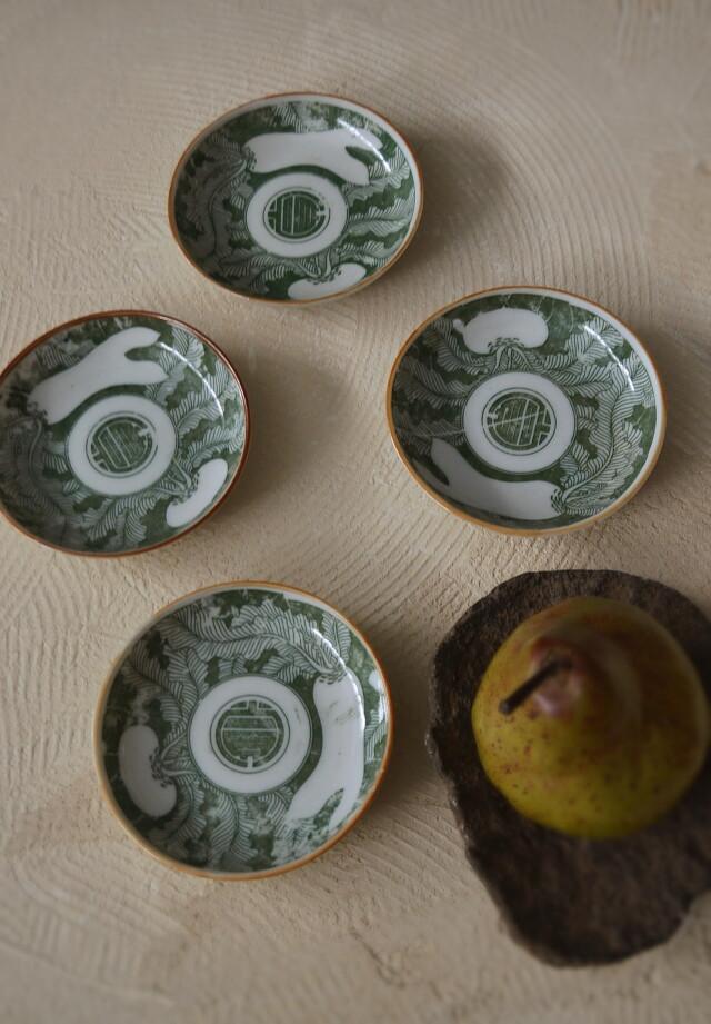 印判小皿 緑釉 カブ・ダイコン文様 四枚組