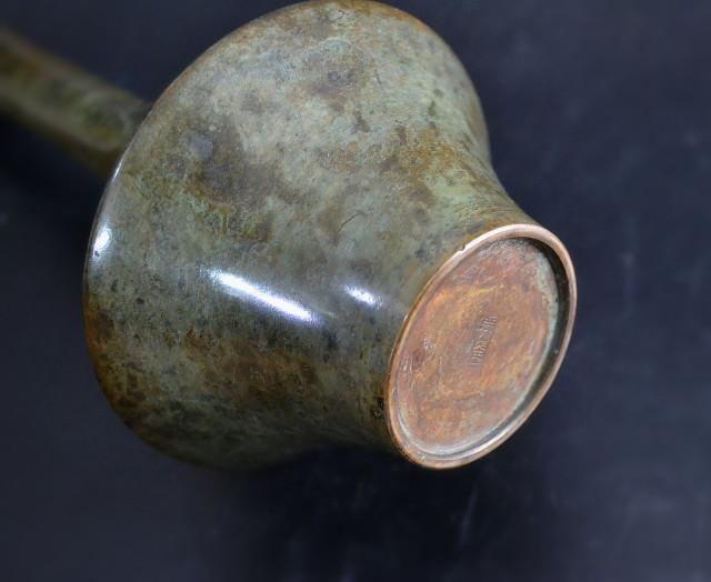勝峰作 銅製花器 レトロモダン