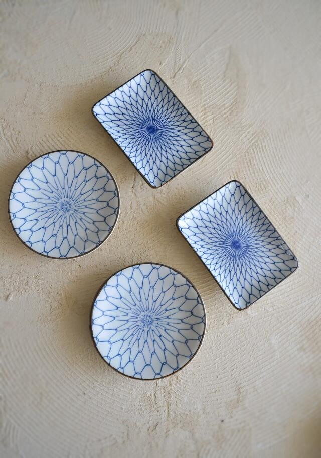 染付網目紋様小皿 角皿 二枚組