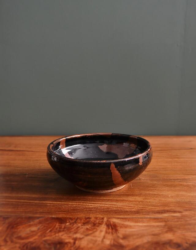 黒釉錆流描鉢 白石 篤作