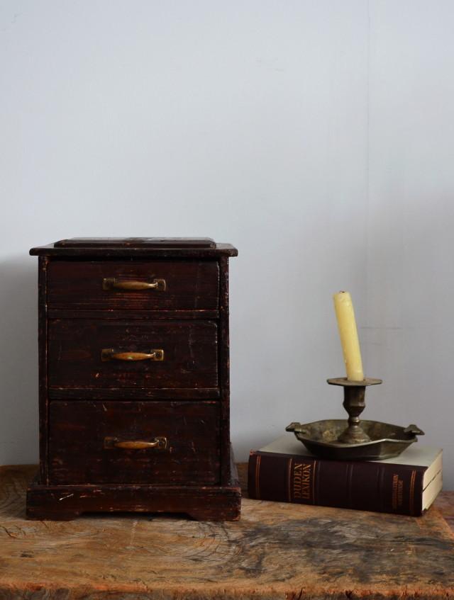三段引き出し 小箪笥 木製和家具 小物入れ 裁縫箱