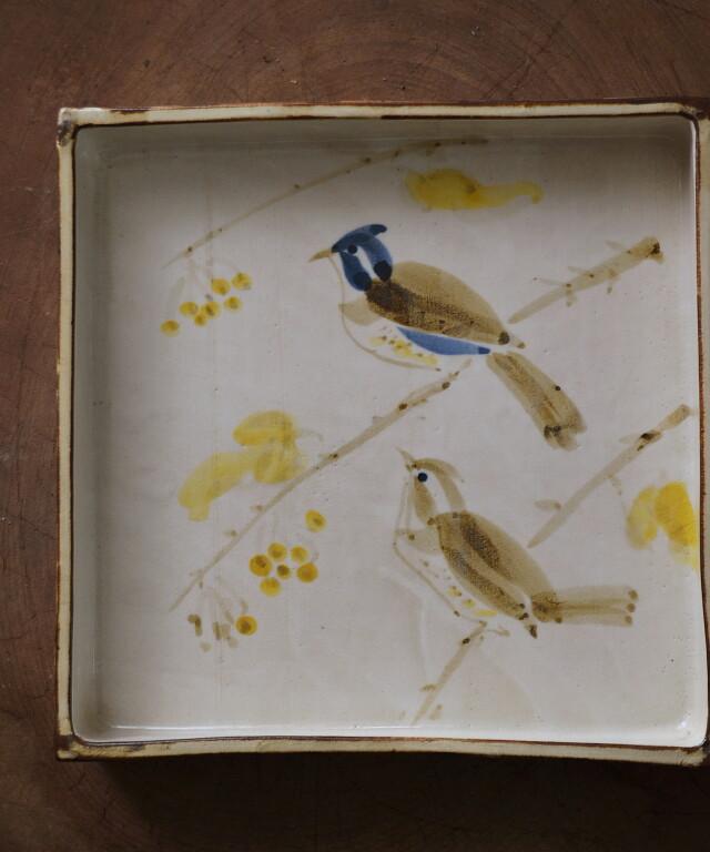 可愛い鳥の絵のスクエアープレート 中島正雄(雅山窯) 尾崎良二画