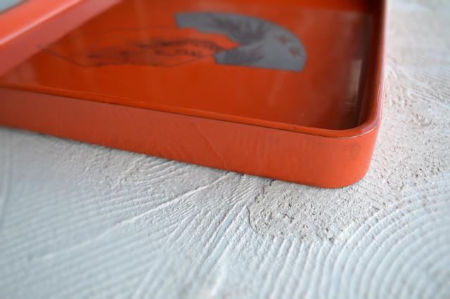 朱塗り漆膳 五枚組 扇面図毛彫り銀蒔絵