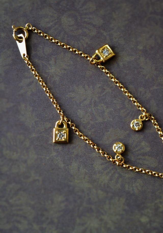 南京錠 ダイヤ ブレスレット18金ゴールド