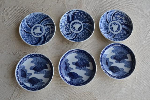 染付印判小皿柄違い2種セット6枚