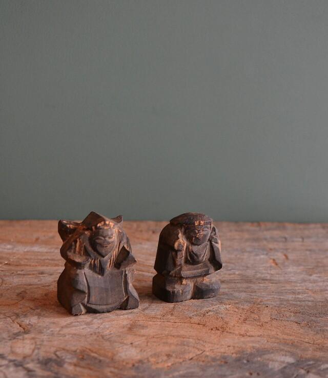小さな恵比寿大黒像 木彫