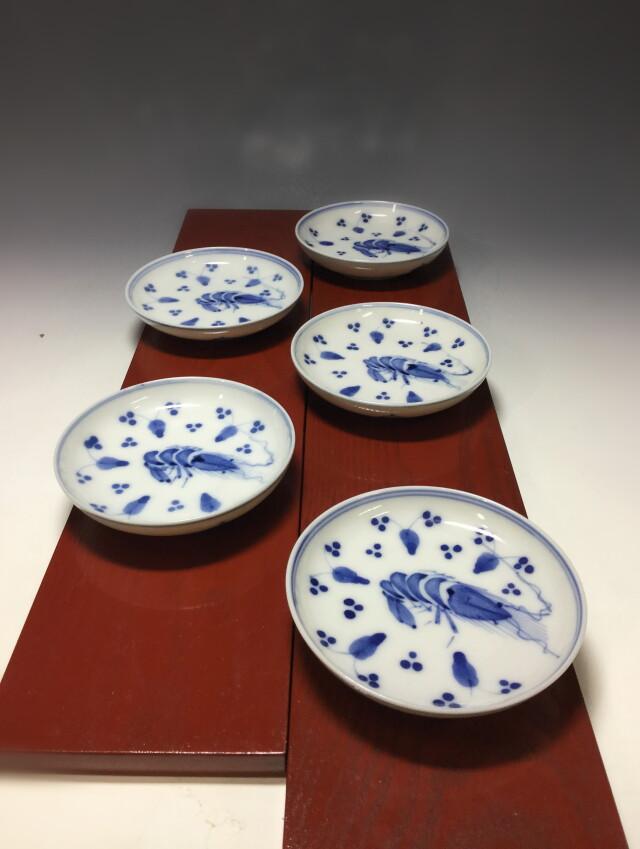 海老図 皿 五枚組