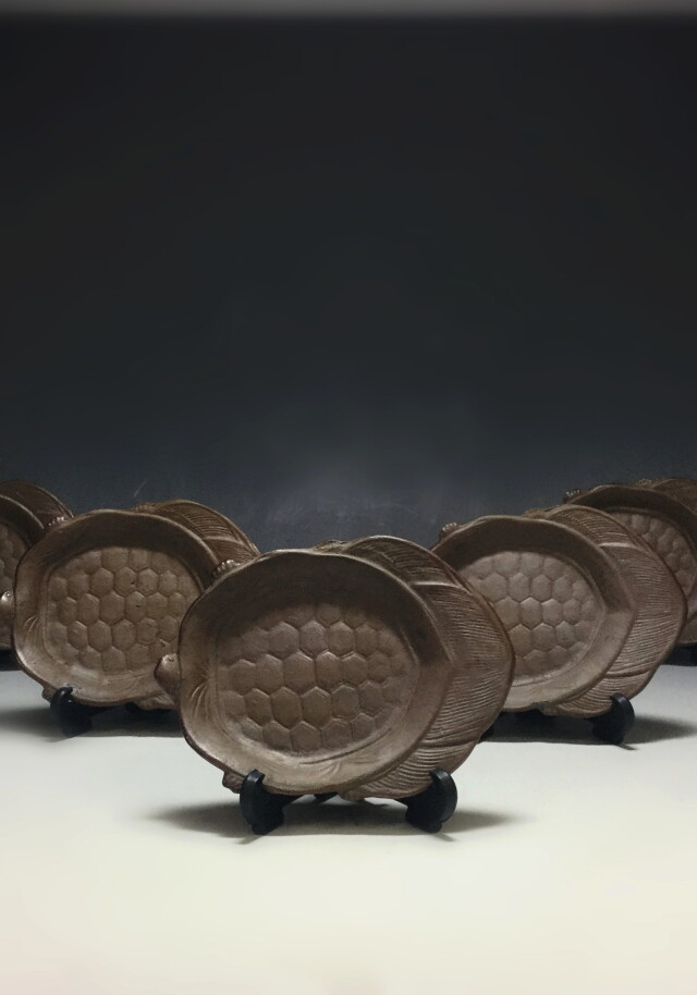 備前焼 亀型 小皿 五枚組