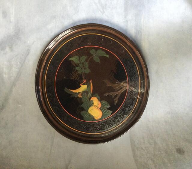 亀蒔絵漆蓋付碗五客と果実と鳥の蒔絵盆のセット