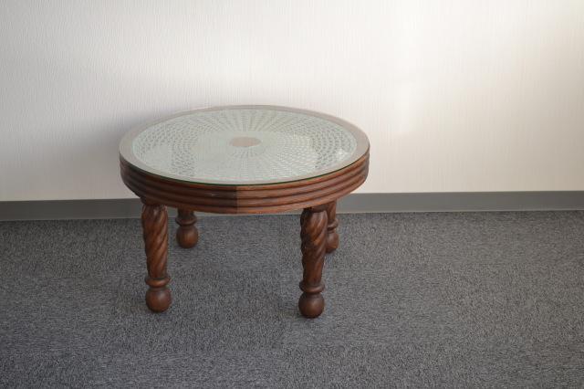 ラタン編みラウンドサロンテーブル
